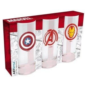 MARVEL  Zestaw Szklanek Avengers Captain America & Iron Man 3 x 290 ml